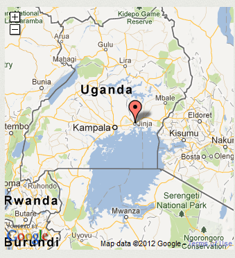 Map of Uganda with Jinja marked