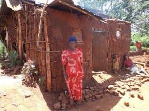 Florance Bengo and her damaged home