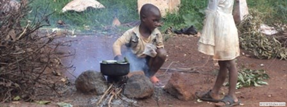 Children cooking while mom searches for firewood to sell for the family's support